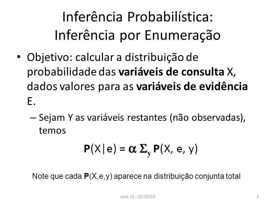 Aula 13 - 22/10/10 Inferência Probabilística: Inferência por Enumeração Objetivo: calcular a distribuição de probabilidade das variáveis de consulta X