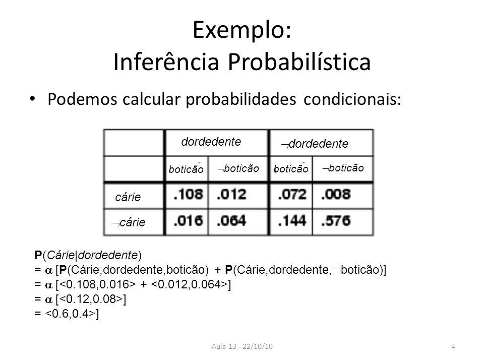 Aula 13 - 22/10/10 Exemplo: Inferência Probabilística Podemos calcular probabilidades condicionais: dordedente cárie boticão P(Cárie|dordedente) = [P(