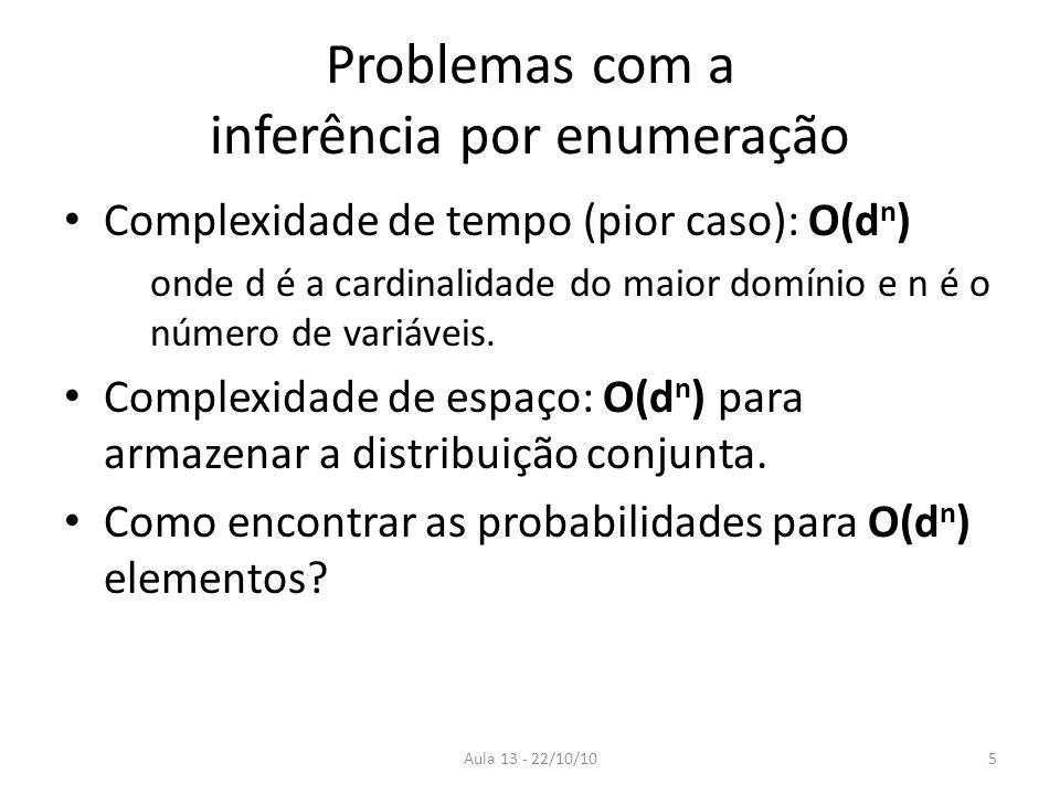 Aula 13 - 22/10/10 Problemas com a inferência por enumeração Complexidade de tempo (pior caso): O(d n ) onde d é a cardinalidade do maior domínio e n