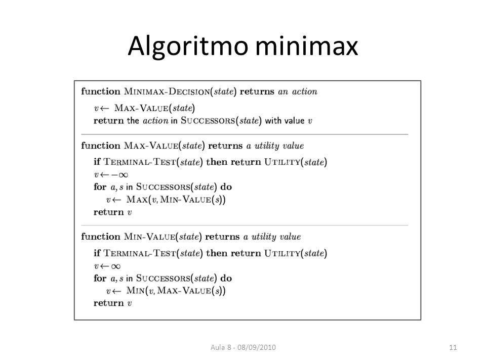 Aula 8 - 08/09/2010 Algoritmo minimax 11