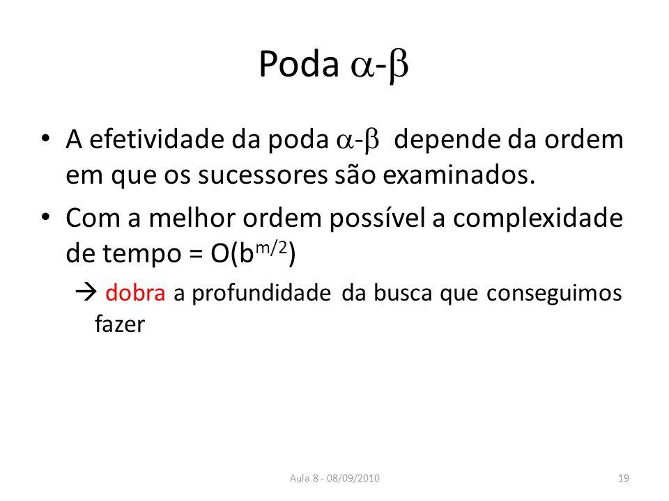 Aula 8 - 08/09/2010 Poda - A efetividade da poda - depende da ordem em que os sucessores são examinados. Com a melhor ordem possível a complexidade de