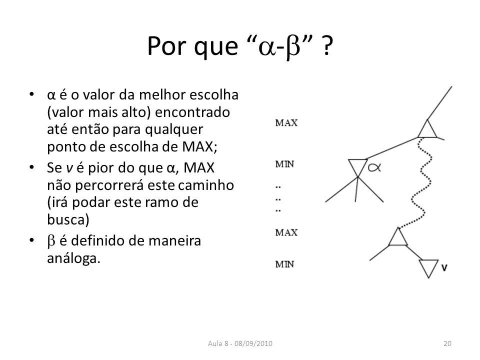 Aula 8 - 08/09/2010 Por que - ? α é o valor da melhor escolha (valor mais alto) encontrado até então para qualquer ponto de escolha de MAX; Se v é pio