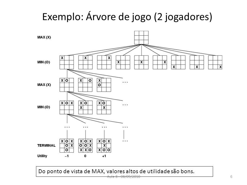 Aula 8 - 08/09/2010 Exemplo: Árvore de jogo (2 jogadores) Do ponto de vista de MAX, valores altos de utilidade são bons. 6