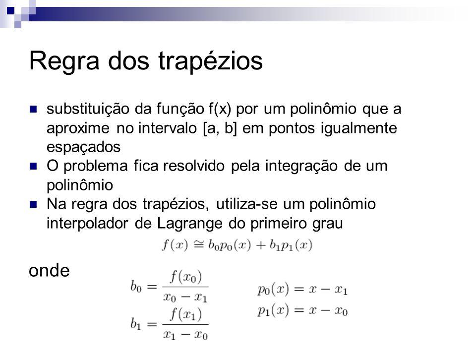 Regra dos trapézios substituição da função f(x) por um polinômio que a aproxime no intervalo [a, b] em pontos igualmente espaçados O problema fica res