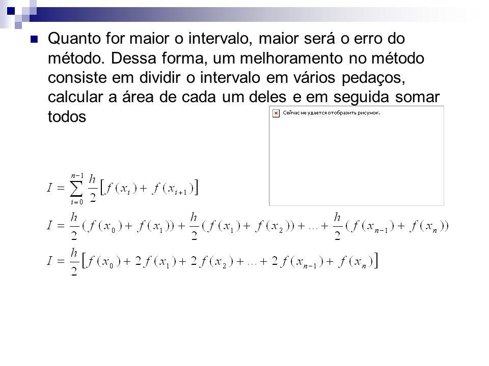 Quanto for maior o intervalo, maior será o erro do método. Dessa forma, um melhoramento no método consiste em dividir o intervalo em vários pedaços, c