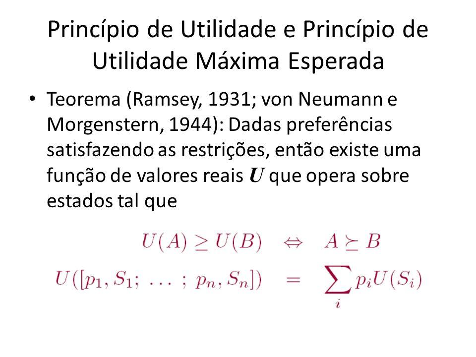 Princípio de Utilidade e Princípio de Utilidade Máxima Esperada Teorema (Ramsey, 1931; von Neumann e Morgenstern, 1944): Dadas preferências satisfazendo as restrições, então existe uma função de valores reais U que opera sobre estados tal que