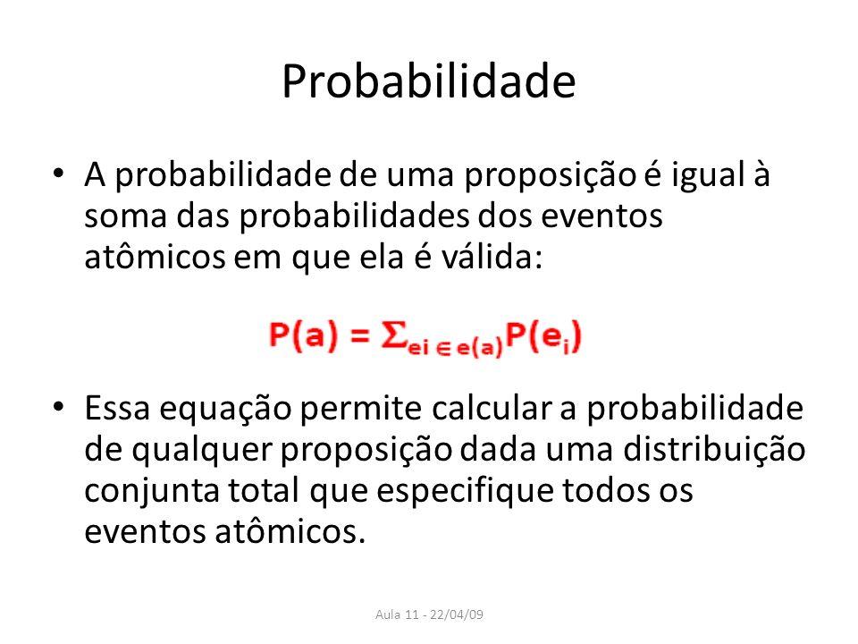 Aula 11 - 22/04/09 Probabilidade A probabilidade de uma proposição é igual à soma das probabilidades dos eventos atômicos em que ela é válida: Essa eq