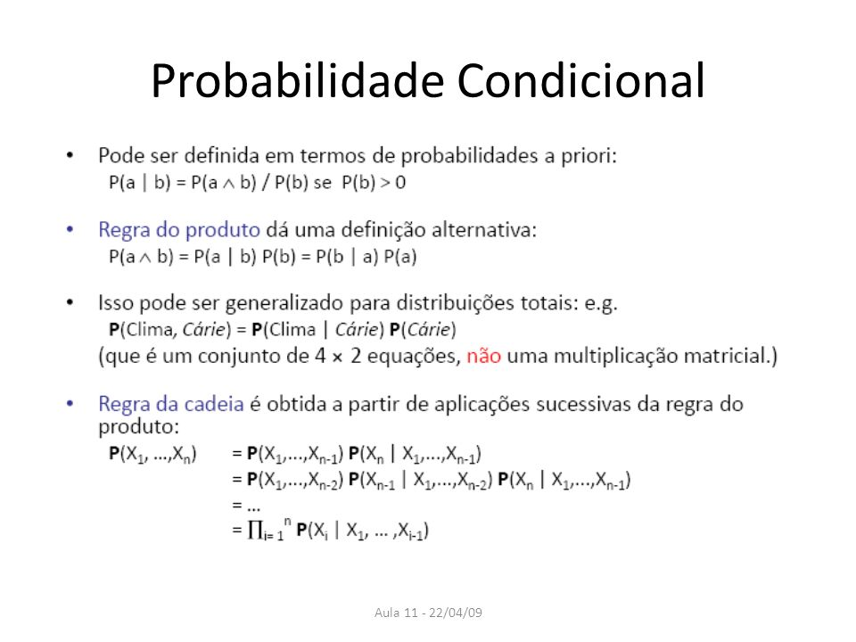Aula 11 - 22/04/09 Probabilidade Condicional