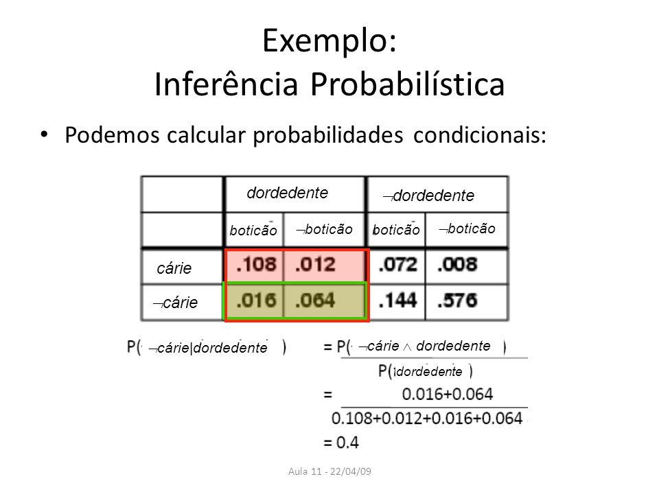 Aula 11 - 22/04/09 Exemplo: Inferência Probabilística Podemos calcular probabilidades condicionais: dordedente cárie boticão cárie dordedente cárie do