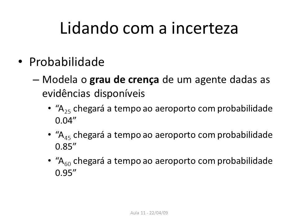 Aula 11 - 22/04/09 Probabilidade A probabilidade proporciona um meio para resumir a incerteza que vem de: – Preguiça = falha em enumerar todas as possíveis exceções à regra – Ignorância = falta de conhecimento sobre fatos relevantes, condições iniciais
