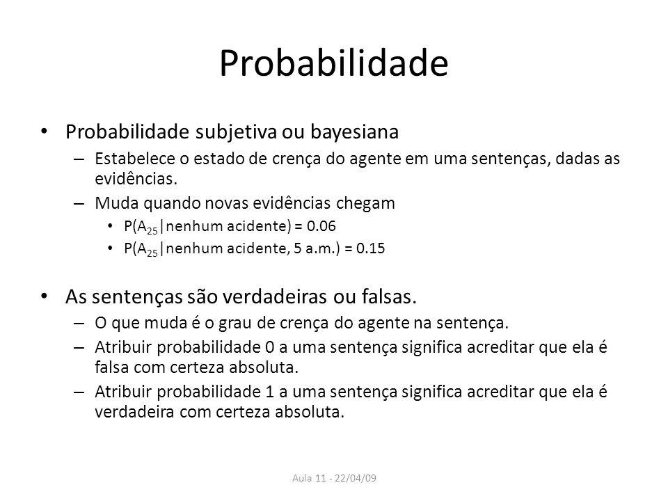 Aula 11 - 22/04/09 Probabilidade Probabilidade subjetiva ou bayesiana – Estabelece o estado de crença do agente em uma sentenças, dadas as evidências.