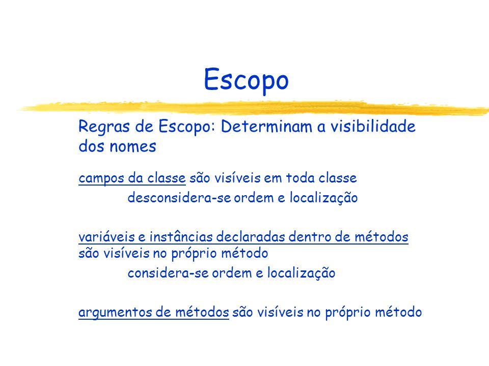 Escopo Regras de Escopo: Determinam a visibilidade dos nomes campos da classe são visíveis em toda classe desconsidera-se ordem e localização variávei