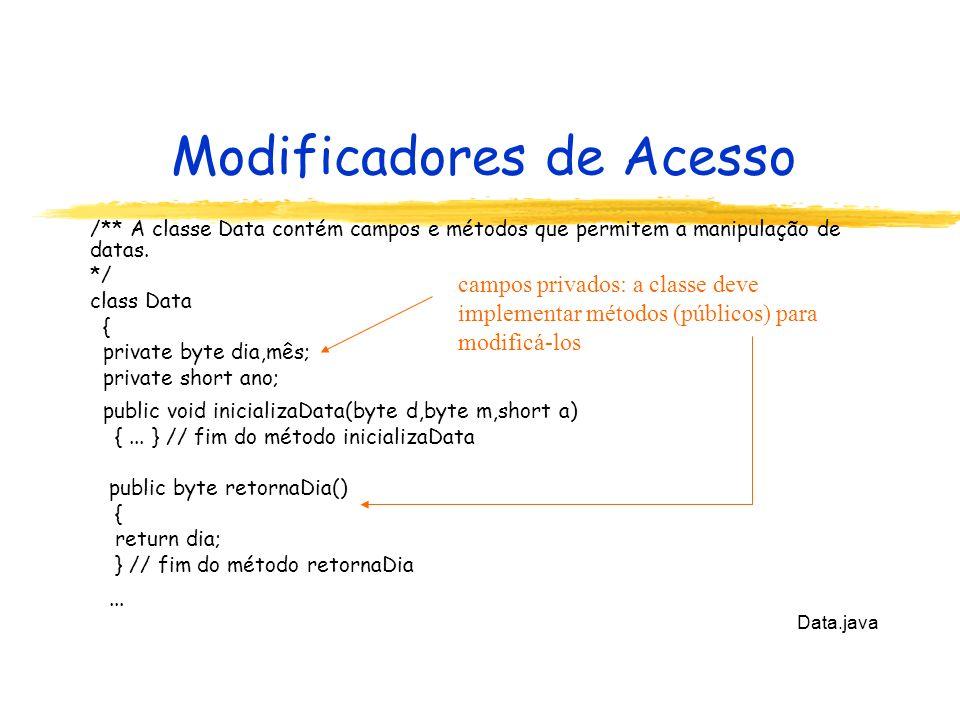 Modificadores de Acesso /** A classe Data contém campos e métodos que permitem a manipulação de datas. */ class Data { private byte dia,mês; private s