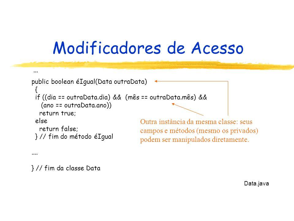 Modificadores de Acesso... public boolean éIgual(Data outraData) { if ((dia == outraData.dia) && (mês == outraData.mês) && (ano == outraData.ano)) ret