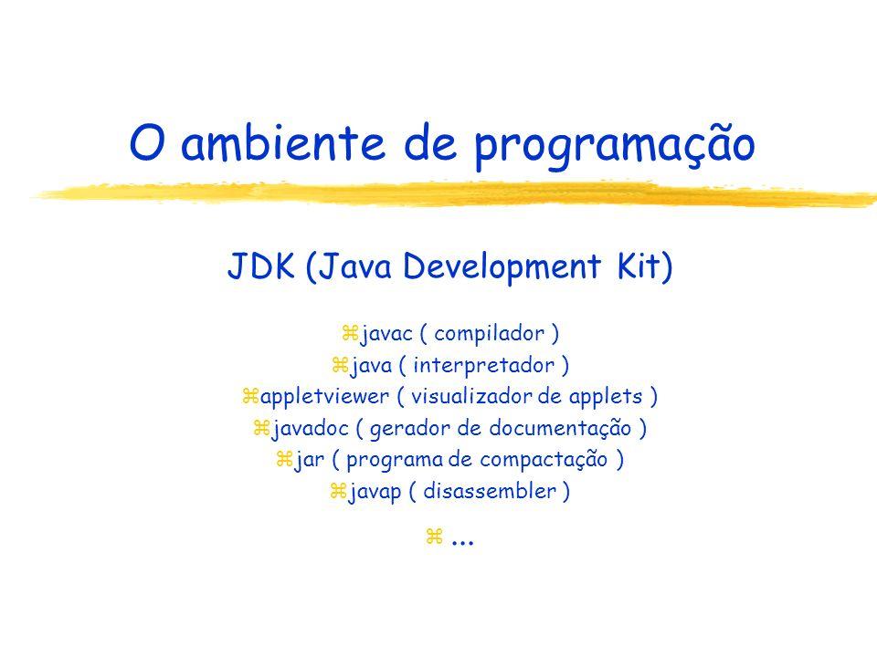 O ambiente de programação JDK (Java Development Kit) zjavac ( compilador ) zjava ( interpretador ) zappletviewer ( visualizador de applets ) zjavadoc