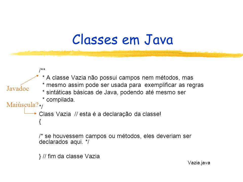 Classes em Java /** * A classe Vazia não possui campos nem métodos, mas * mesmo assim pode ser usada para exemplificar as regras * sintáticas básicas