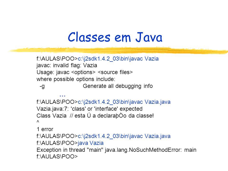 Campos de classes em Java Tipos Nativos: Nome do tipo Valores do tipo boolean (true, false) byte [-128,127] short (dois bytes) [-32768,32767] int (quatro bytes)[-2147483648,2147483647] long (oito bytes) char (dois bytes, Unicode [0,65535],operados como inteiros) a , b ,...