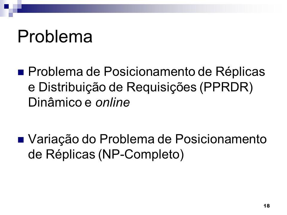 18 Problema Problema de Posicionamento de Réplicas e Distribuição de Requisições (PPRDR) Dinâmico e online Variação do Problema de Posicionamento de R
