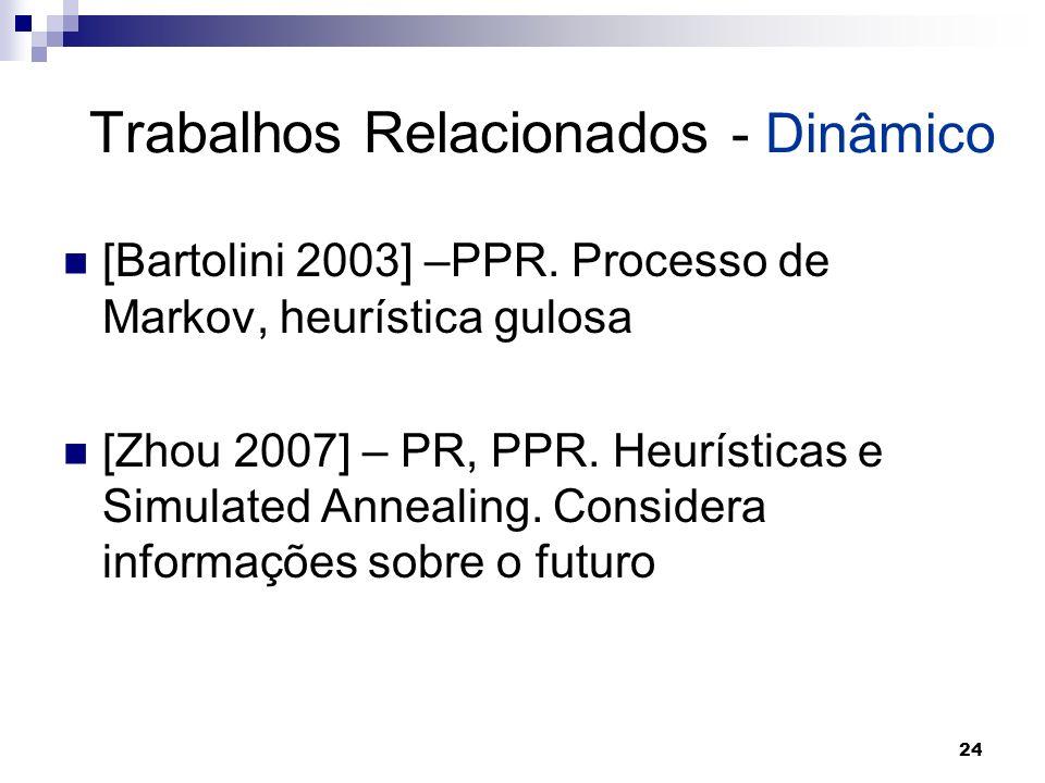 24 Trabalhos Relacionados - Dinâmico [Bartolini 2003] –PPR. Processo de Markov, heurística gulosa [Zhou 2007] – PR, PPR. Heurísticas e Simulated Annea