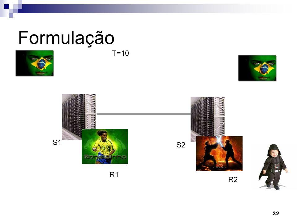 32 Formulação T=10 R1 R2 S1 S2