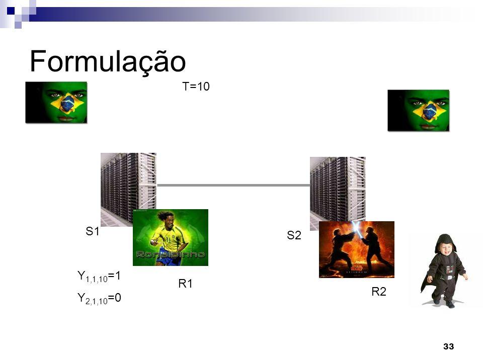 33 Formulação T=10 R1 R2 S1 S2 Y 1,1,10 =1 Y 2,1,10 =0