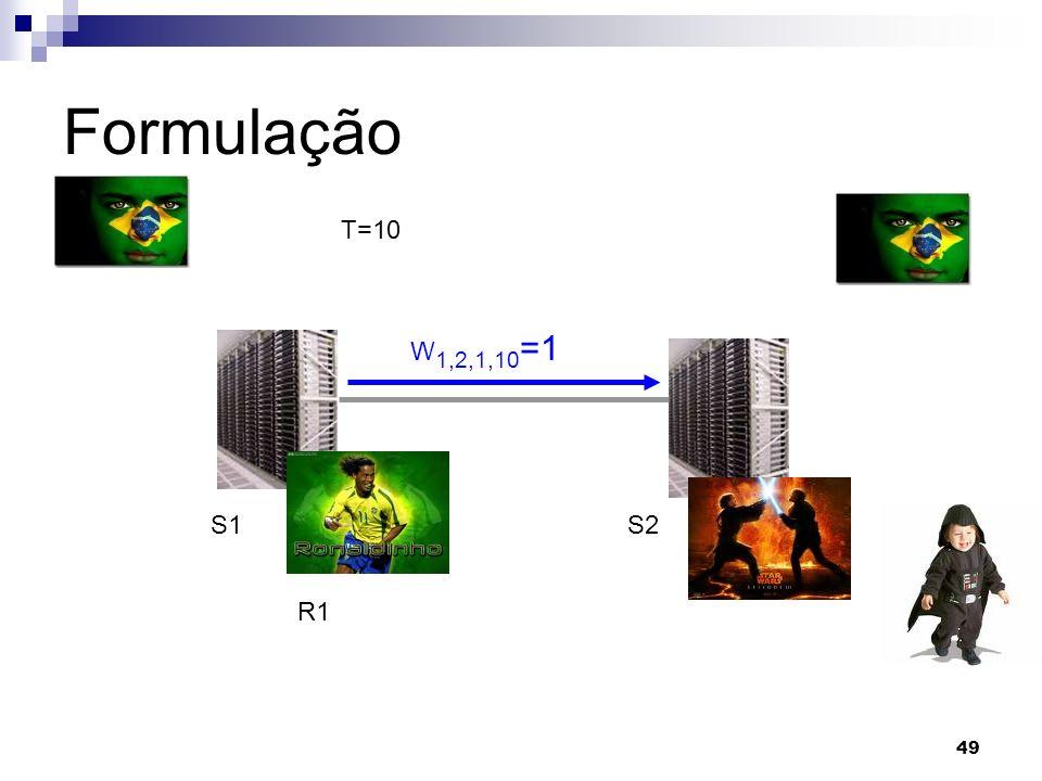 49 Formulação W 1,2,1,10 =1 R1 S1S2 T=10