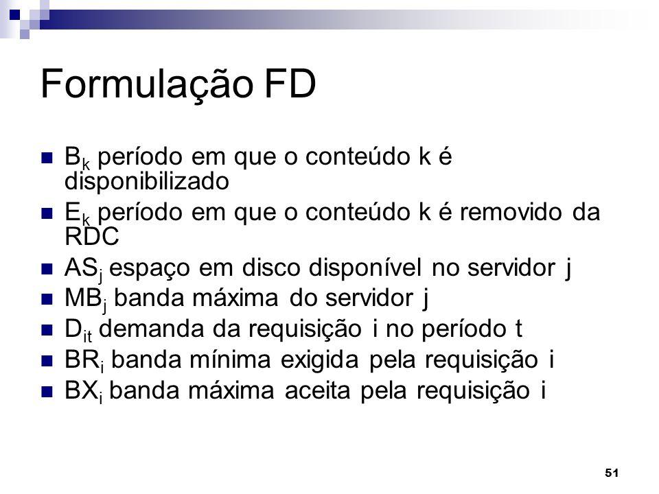 51 Formulação FD B k período em que o conteúdo k é disponibilizado E k período em que o conteúdo k é removido da RDC AS j espaço em disco disponível n