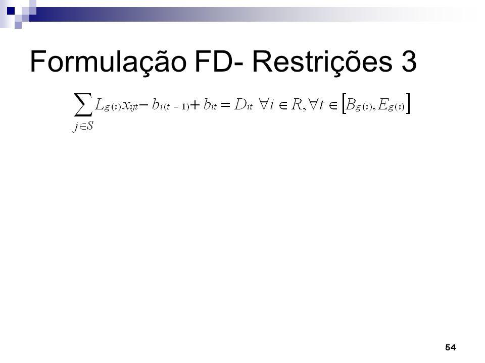 54 Formulação FD- Restrições 3