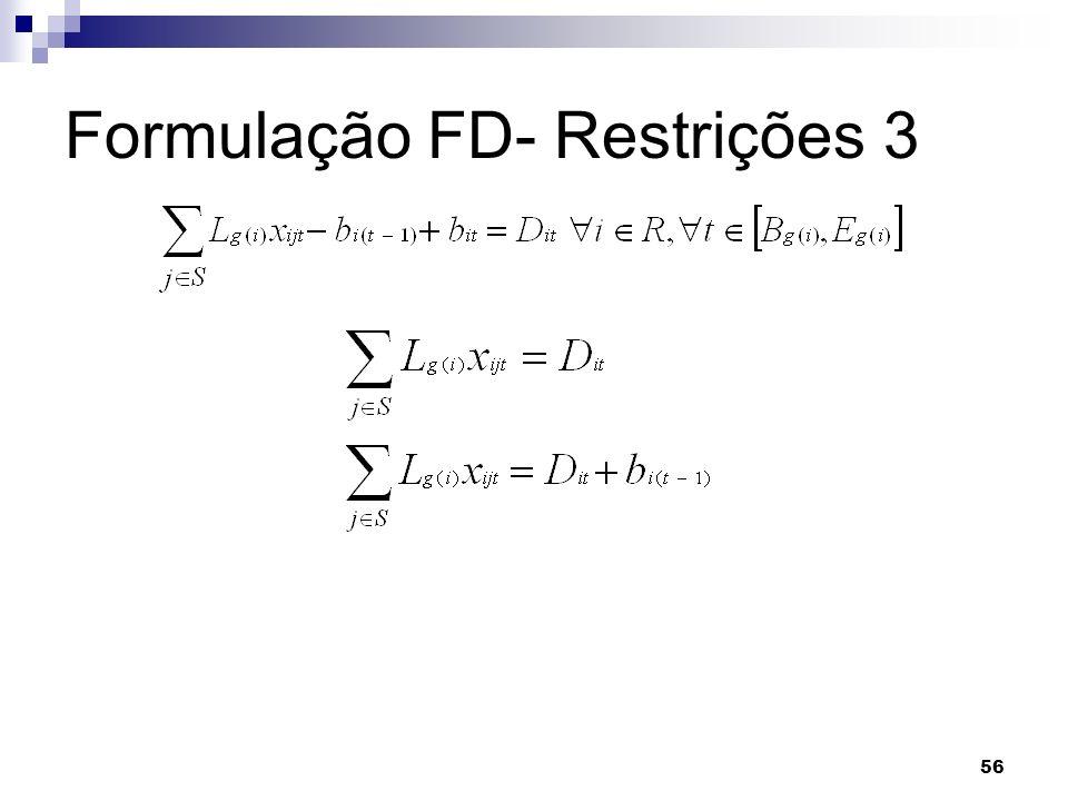 56 Formulação FD- Restrições 3