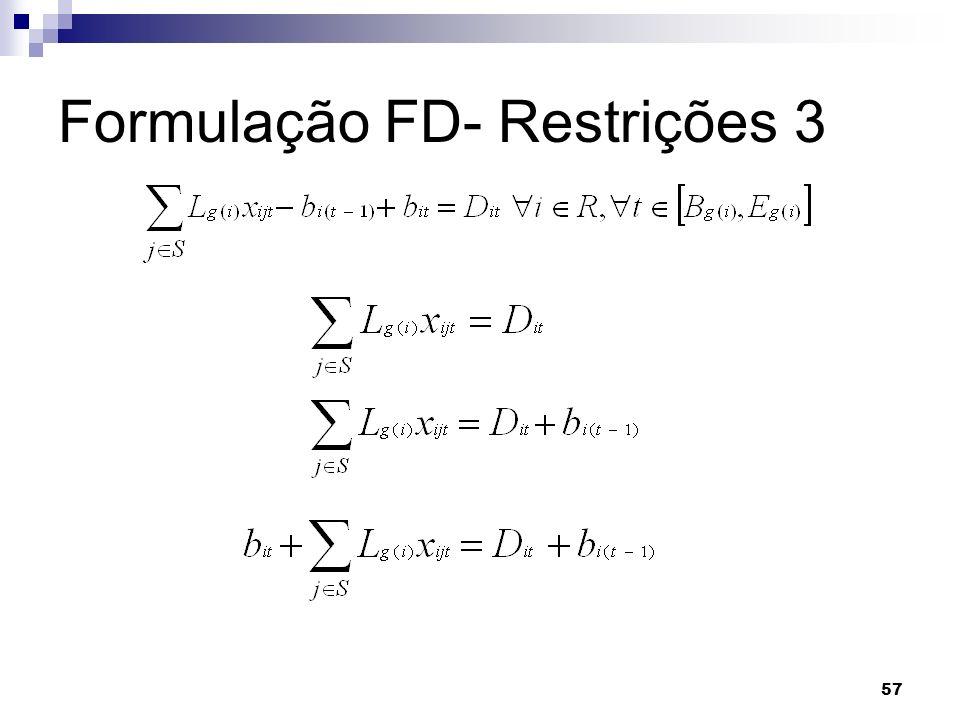 57 Formulação FD- Restrições 3