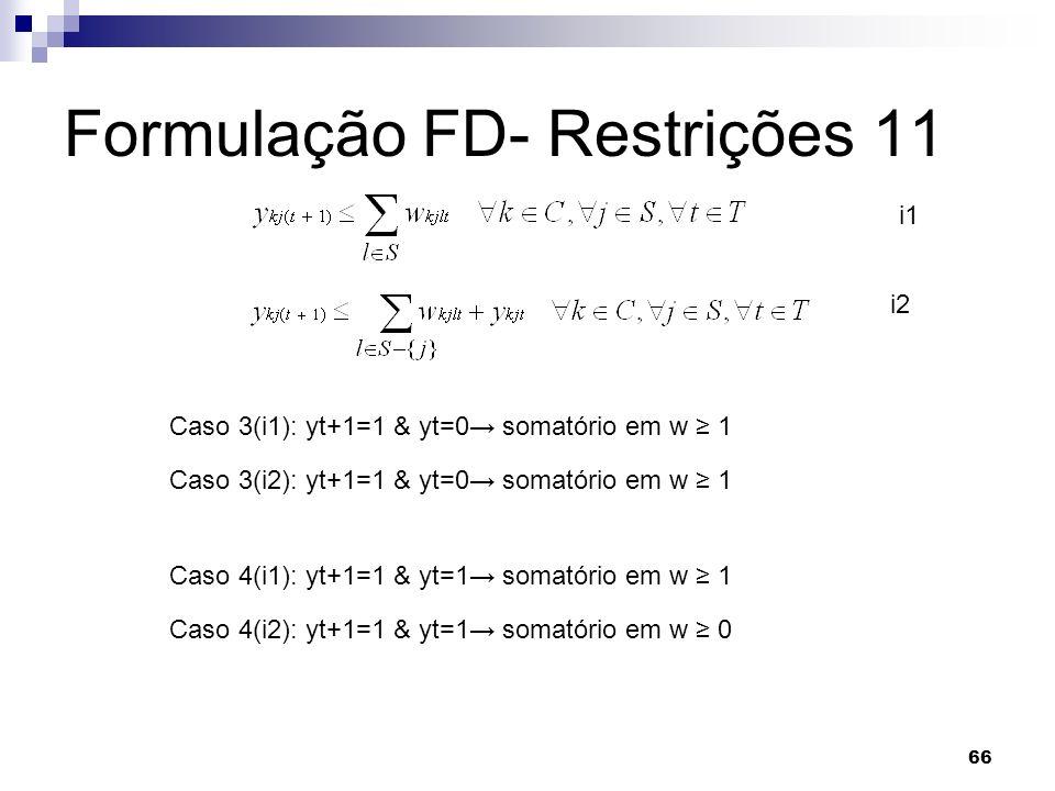 66 Formulação FD- Restrições 11 Caso 3(i1): yt+1=1 & yt=0 somatório em w 1 i1 i2 Caso 3(i2): yt+1=1 & yt=0 somatório em w 1 Caso 4(i1): yt+1=1 & yt=1