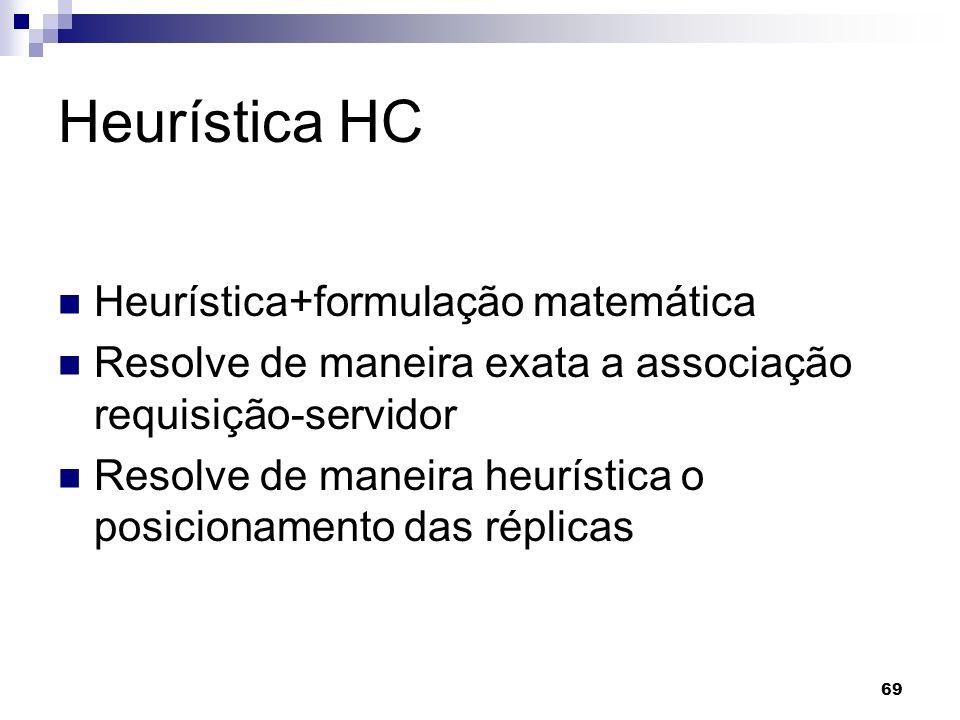 69 Heurística HC Heurística+formulação matemática Resolve de maneira exata a associação requisição-servidor Resolve de maneira heurística o posicionam