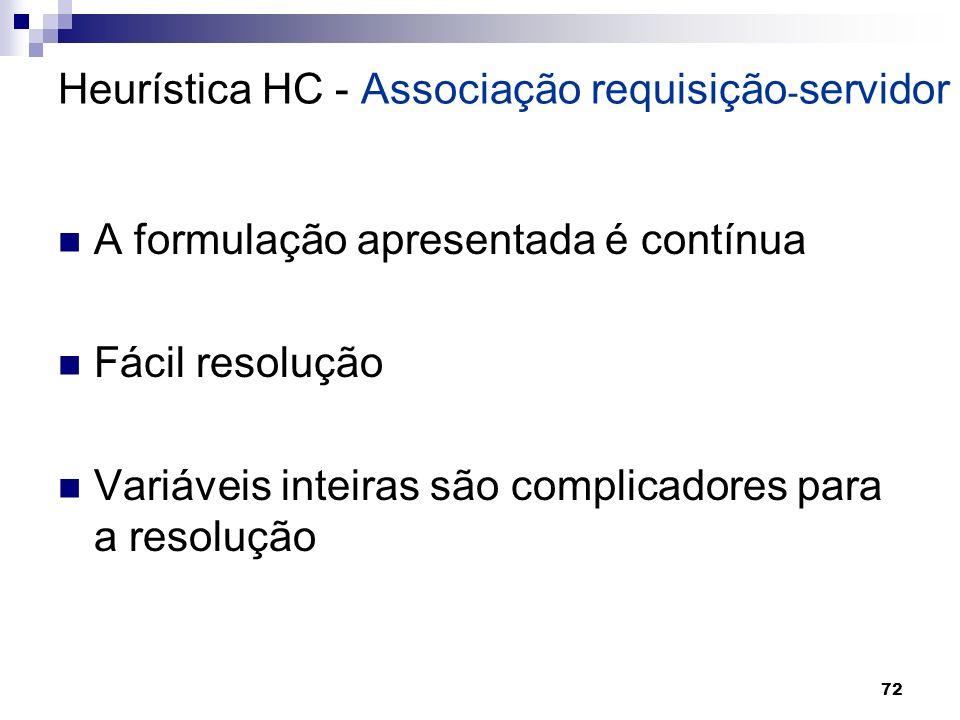 72 A formulação apresentada é contínua Fácil resolução Variáveis inteiras são complicadores para a resolução Heurística HC - Associação requisição - s