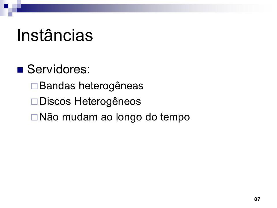 87 Instâncias Servidores: Bandas heterogêneas Discos Heterogêneos Não mudam ao longo do tempo