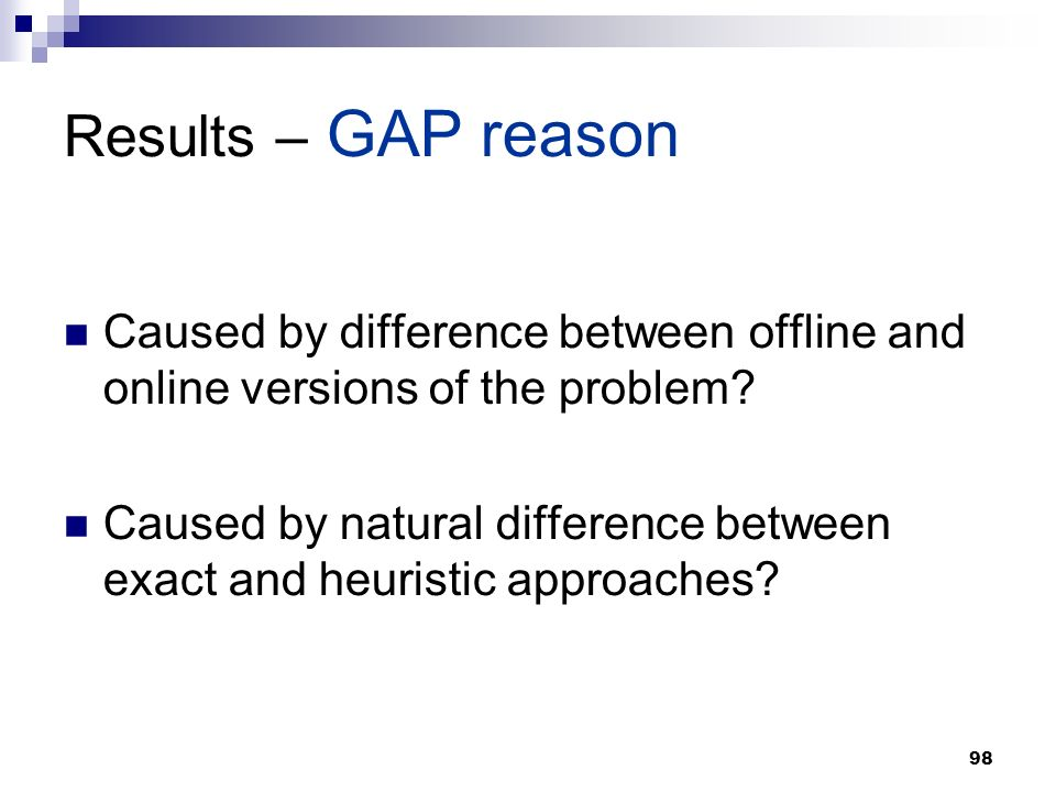 98 Results – GAP reason Caused by difference between offline and online versions of the problem.