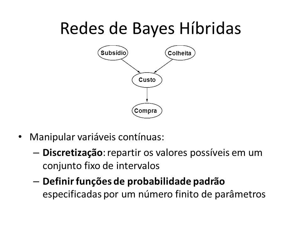 Redes de Bayes Híbridas Manipular variáveis contínuas: – Discretização: repartir os valores possíveis em um conjunto fixo de intervalos – Definir funç