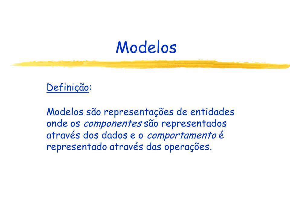 Modelos Definição: Modelos são representações de entidades onde os componentes são representados através dos dados e o comportamento é representado at