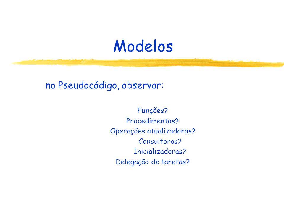 Modelos no Pseudocódigo, observar: Funções? Procedimentos? Operações atualizadoras? Consultoras? Inicializadoras? Delegação de tarefas?