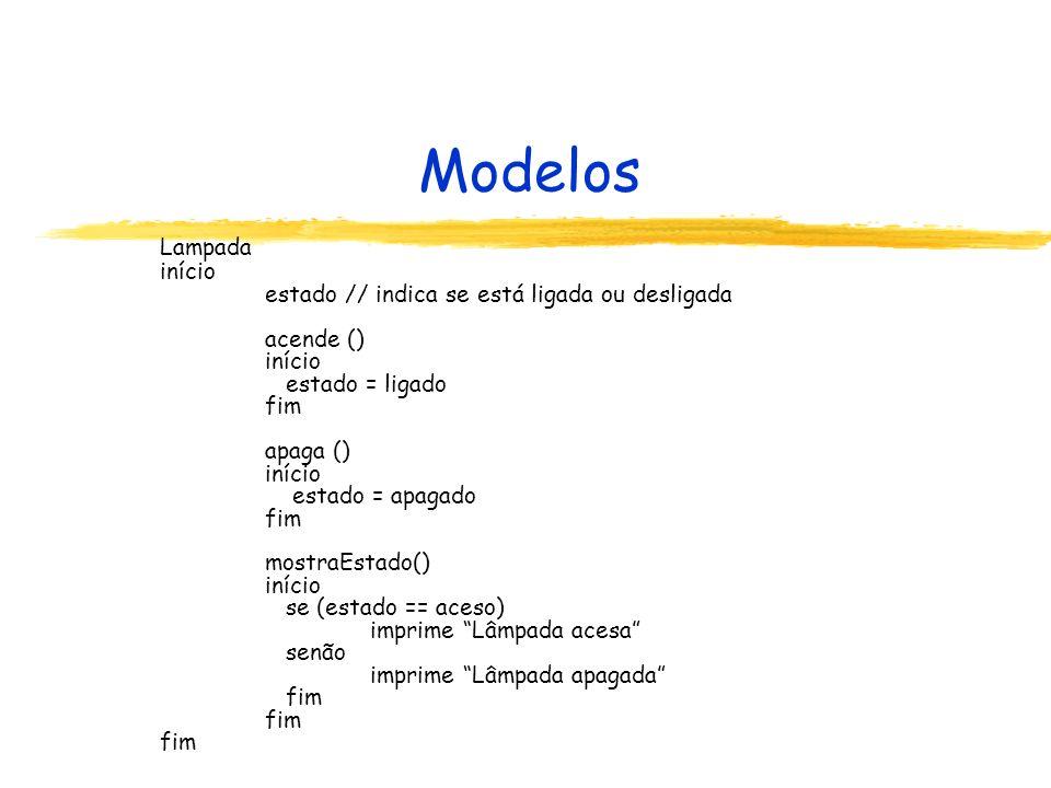 Modelos Comparação com o estilo C, Pascal: Código descreve uma entidade Não há necessariamente um programa principal Operações e dados em um único bloco Dados manipulados somente pelas operações Dados x Fluxo de execução Encapsulamento