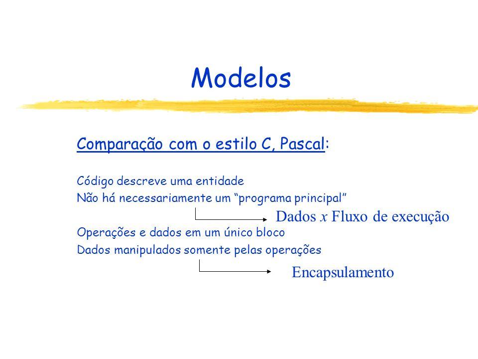 Modelos Comparação com o estilo C, Pascal: Código descreve uma entidade Não há necessariamente um programa principal Operações e dados em um único blo