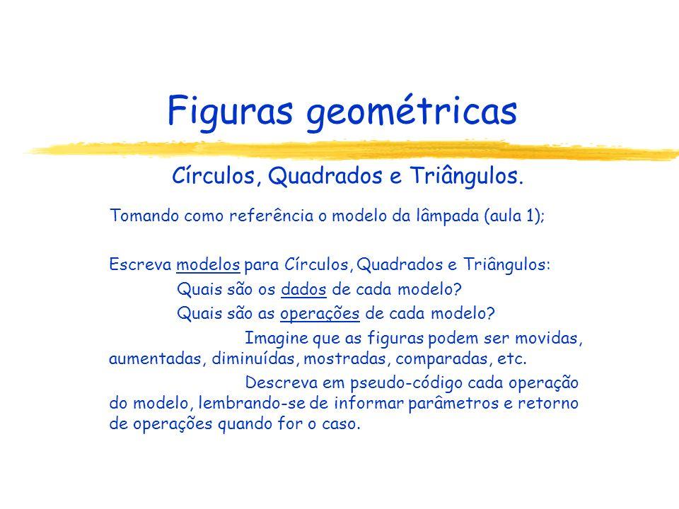 Figuras geométricas Círculos, Quadrados e Triângulos. Tomando como referência o modelo da lâmpada (aula 1); Escreva modelos para Círculos, Quadrados e