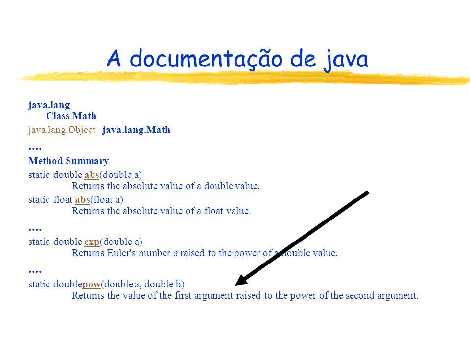 A documentação de java java.lang Class Math java.lang.Objectjava.lang.Object java.lang.Math.... Method Summary static double abs(double a) Returns the