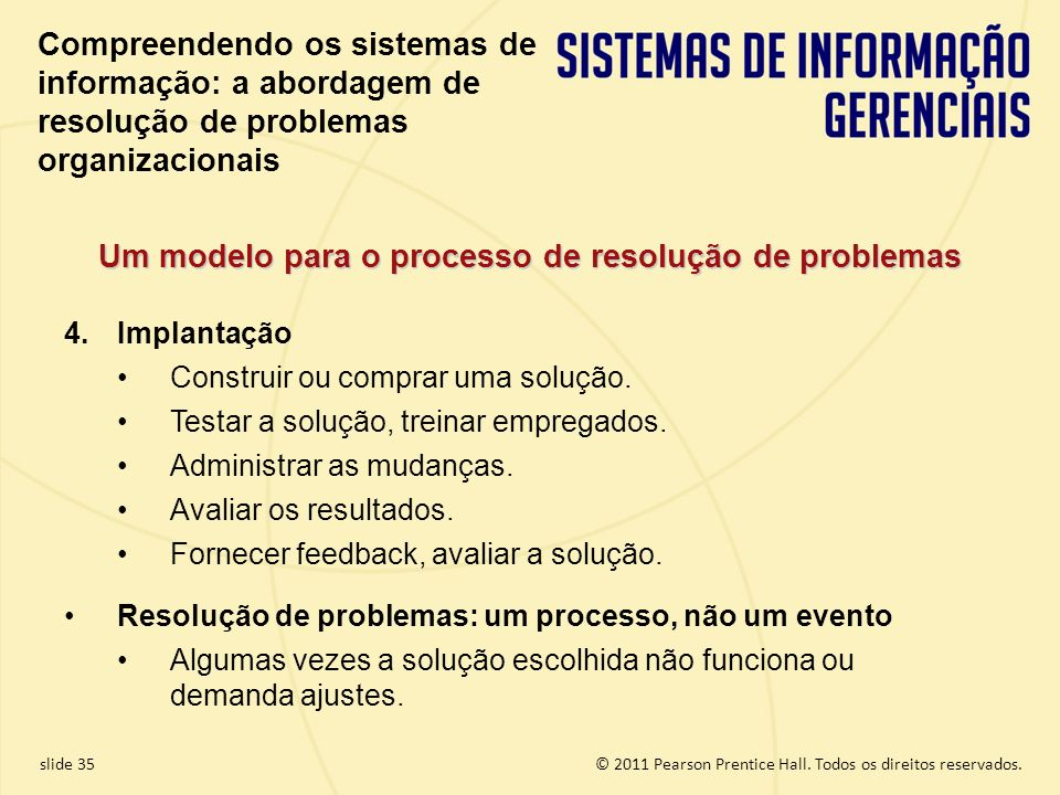 1.35 Copyright © 2011 Pearson Education, Inc. publishing as Prentice Hall © 2011 Pearson Prentice Hall. Todos os direitos reservados.slide 35 4.Implan