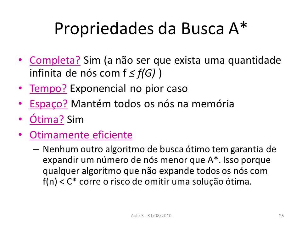 Aula 3 - 31/08/2010 Propriedades da Busca A* Completa.