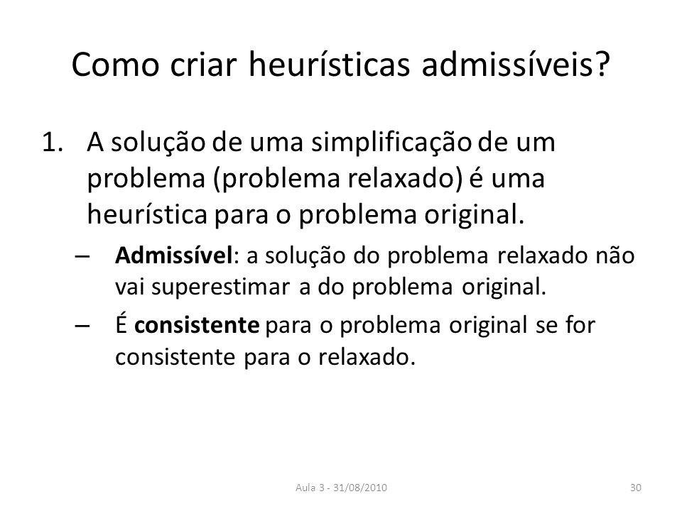 Aula 3 - 31/08/2010 Como criar heurísticas admissíveis? 1.A solução de uma simplificação de um problema (problema relaxado) é uma heurística para o pr