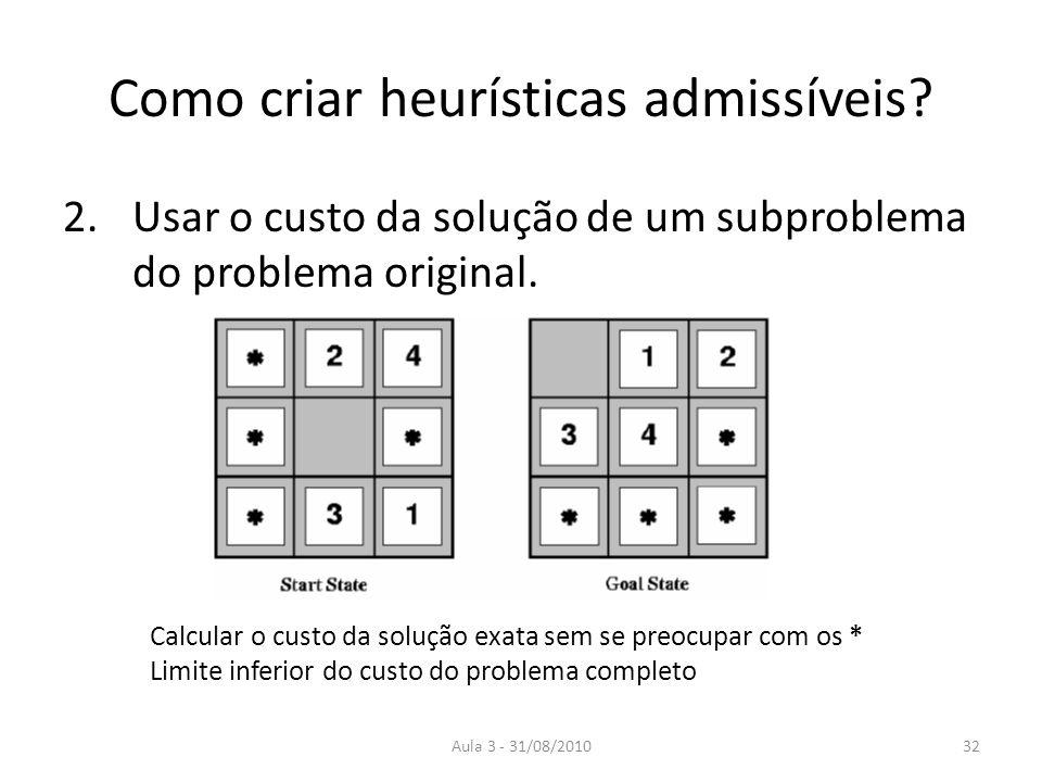 Aula 3 - 31/08/2010 Como criar heurísticas admissíveis? 2.Usar o custo da solução de um subproblema do problema original. Calcular o custo da solução