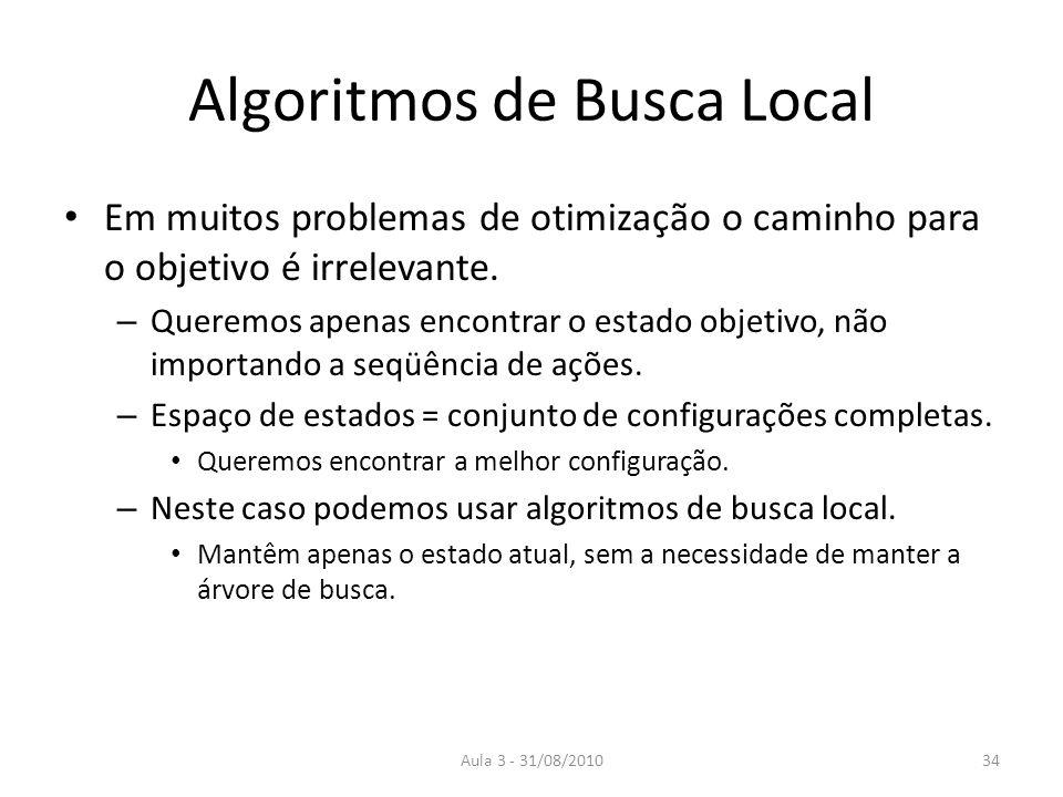 Aula 3 - 31/08/2010 Algoritmos de Busca Local Em muitos problemas de otimização o caminho para o objetivo é irrelevante. – Queremos apenas encontrar o