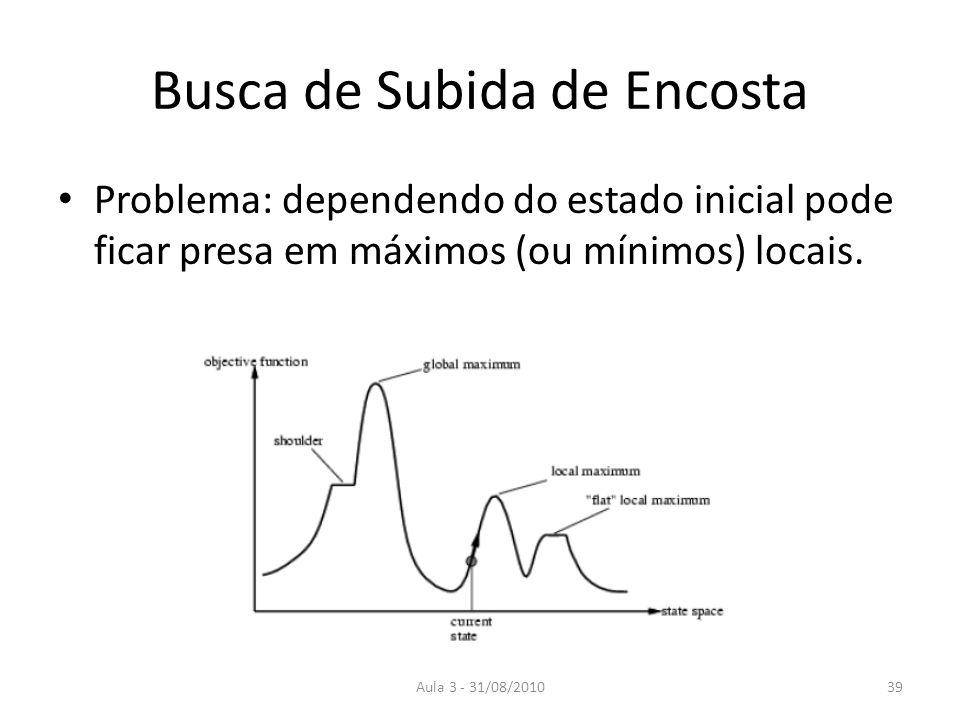 Aula 3 - 31/08/2010 Busca de Subida de Encosta Problema: dependendo do estado inicial pode ficar presa em máximos (ou mínimos) locais. 39