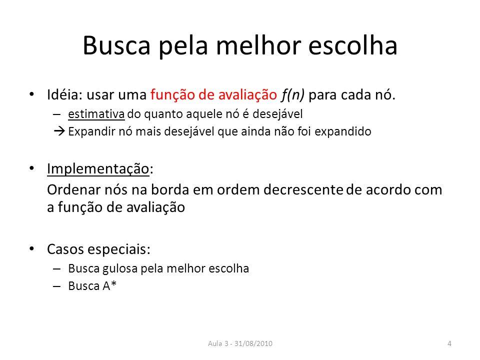 Aula 3 - 31/08/2010 Busca pela melhor escolha Idéia: usar uma função de avaliação f(n) para cada nó.