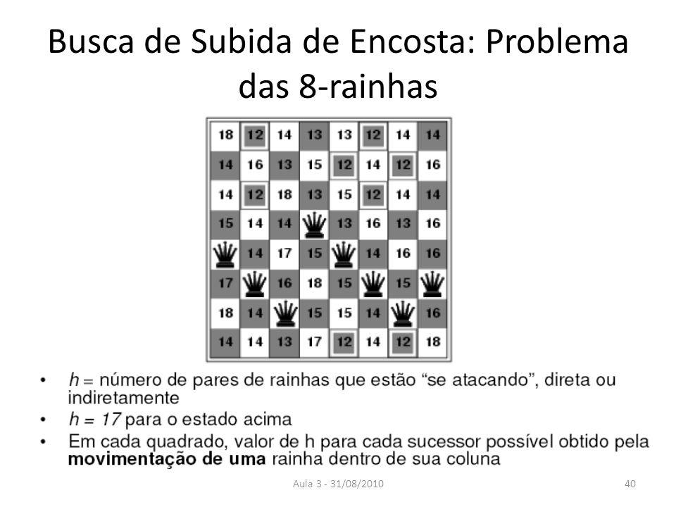 Aula 3 - 31/08/2010 Busca de Subida de Encosta: Problema das 8-rainhas 40